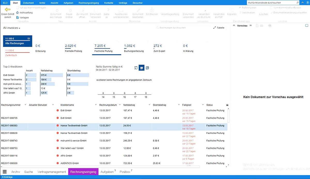 Mit dem ELO Rechnungseingangs-Cockpit überblicken Sie alle Rechnungen, die sich im laufenden Prozess befinden