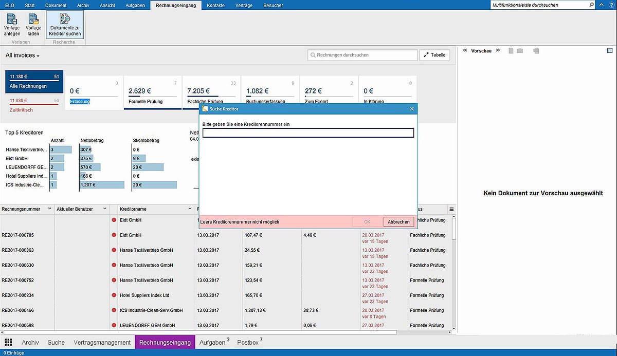 Intelligente Filtermöglichkeiten ermöglichen Ihnen die Suche z.B. nach bestimmten Kreditoren
