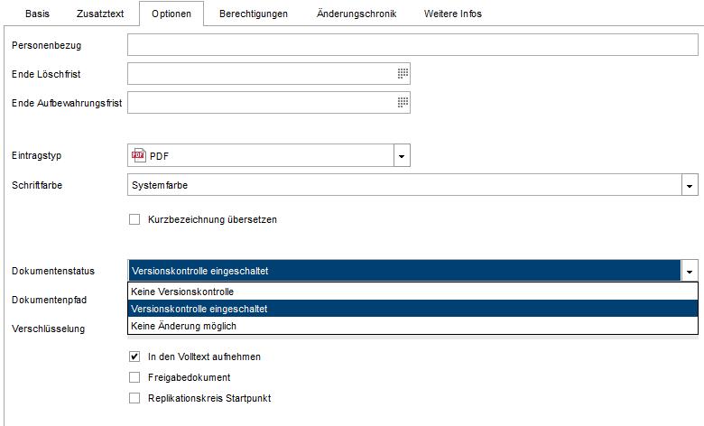 Basisfunktionen ELO Dokumentenstatus