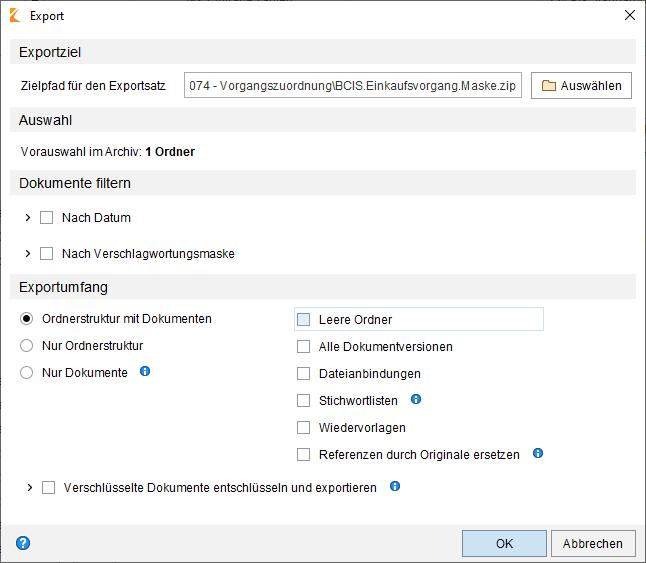 Basisfunktionen ELO Export Archiv