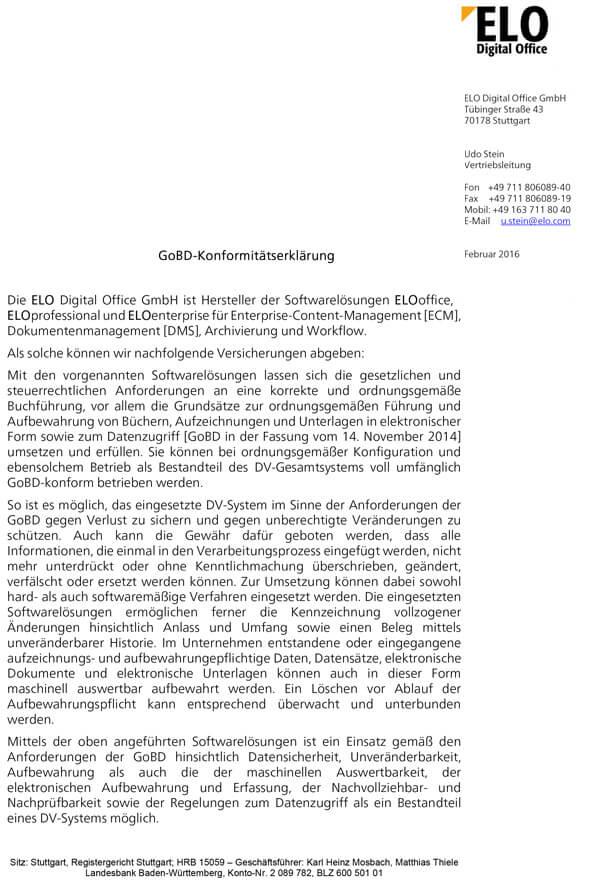 ELO GoBD-Konformitätserklärung