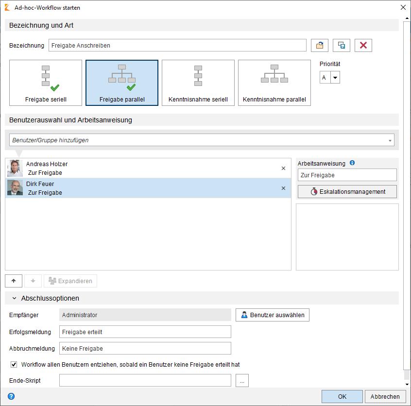 ELO Workflow Management Ad Hoc Workflow